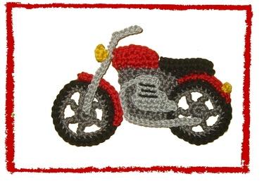 Häkelapplikation Motorrad gehäkelt, crochet motorbike applique