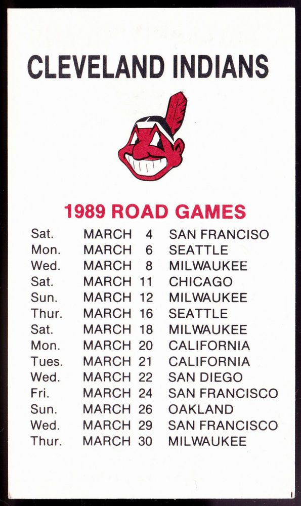 1989 CLEVELAND INDIANS SPRING BASEBALL POCKET SCHEDULE FREE SHIPPING EX+NM COND #Pocket #Schedule
