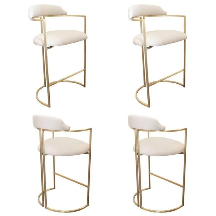 Brass Bar Stools Upholstered In White Leather White And