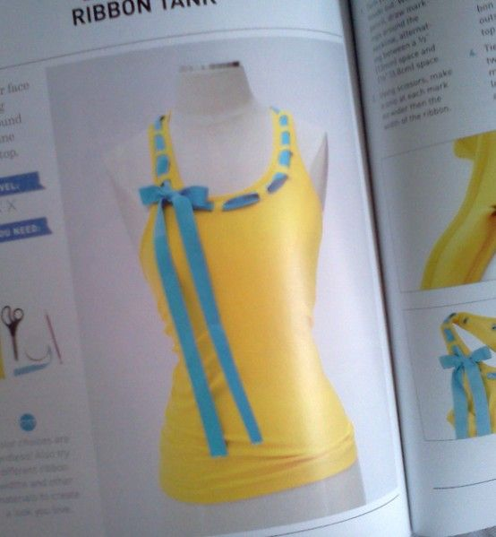 diy ribbon tank from I Spy DIY Style: Diy Style, Tanks Tops, Diy Clothing, Spy Diy, T Shirts, I Spy, Diy Ribbons, Ribbons Tanks, Books Review