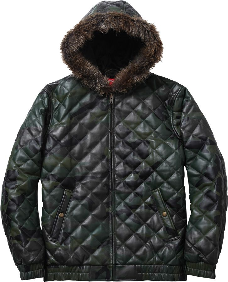 Quilted Leather Hooded Jacket