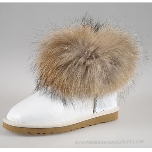UGG Mini Fox Fur 5854 White Boots