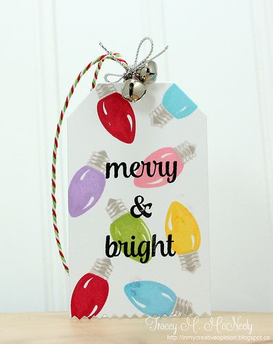 Sunny Studio Merry Sentiments Light Bulb Christmas Tag by Tracey McNeely.