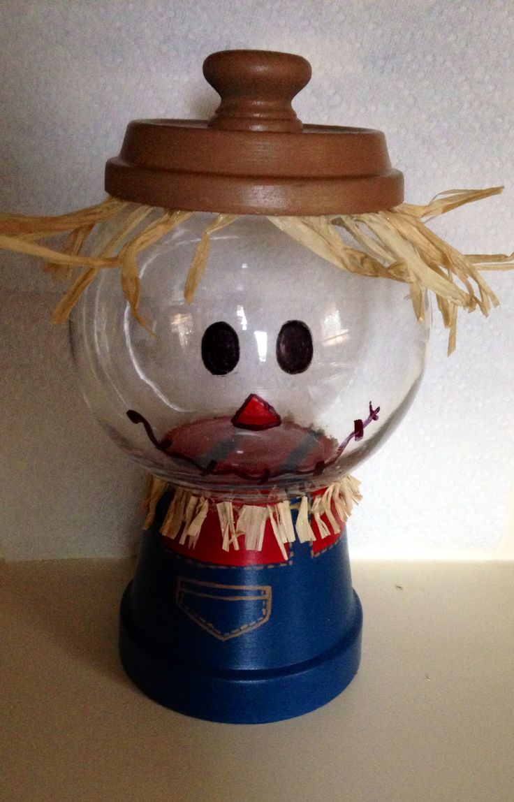 Scarecrow candy dish -Made from terra cotta pot & Saucer and glass bowl! :)