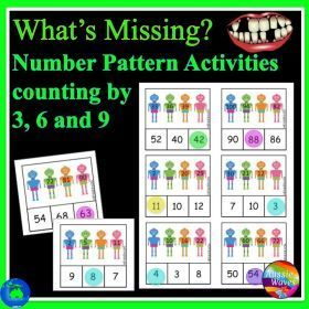 Grade / Year Level :: Primary Education :: Year 2 :: Maths Groups Activity Missing Numbers Patterns Counting by Three, Six, and NIne