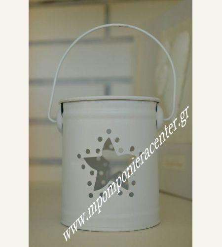 Μπομπονιέρα βάπτισης μολυβοθήκη κουβαδάκι μεταλλικό με αστέρι