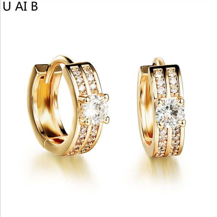 Fashion AAA Cubic Zirconia stud earrings gold-plated bride earrings sweet temperament jewelry Engagement Jewelry Party Gift