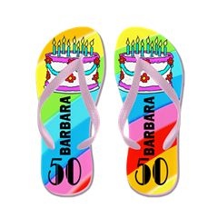 Fashionable 50Th Flip Flops This 50 year old will sparkle and shine in our fabulous 50th Birthday Personalized Flip Flops. http://www.cafepress.com/jlporiginals/14337171 #50yearsold #Happy50thbirthday #50thbirthdaygift #Happy50th #Personalized50th