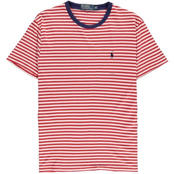 Polo Ralph Lauren Striped Crew Neck T Shirt ($33) ❤ liked on Polyvore featuring men's fashion, men's clothing, men's shirts, men's t-shirts, tops, shirts, t-shirts, red, tees and mens cotton t shirts