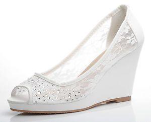 OFF White Lace Diamante Wedding Bridal Peep TOE Wedge Shoes UK 3 4 5 6 7 7 5 | eBay