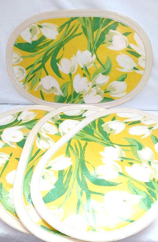 Vintage Vinyl Placemats,Set of 4,Yellow Placemats,Kitschy Placemats,Vintage Floral Placemats,Retro Kitchen,Yellow Kitchen,Plastic Placemats by JunkYardBlonde on Etsy