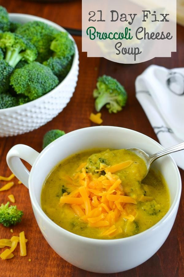21 Day Fix Broccoli Cheese Soup - a hearty,  healthy recipe that's creamy without using any yellows! See more recipes ---> http://fabulesslyfrugal.com/category/recipes/