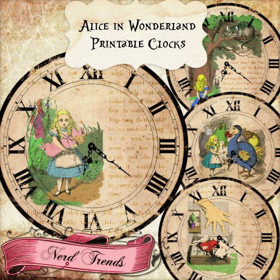 Alice in Wonderland Printable Clock Images, Alice Large Digital Clock Faces, Alice Decoration, INSTANT DOWNLOAD