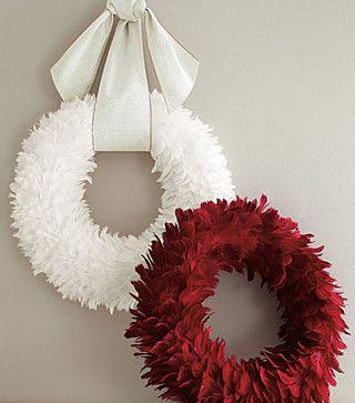 Feather Wreath - modern - holiday decorations - Garnet Hill