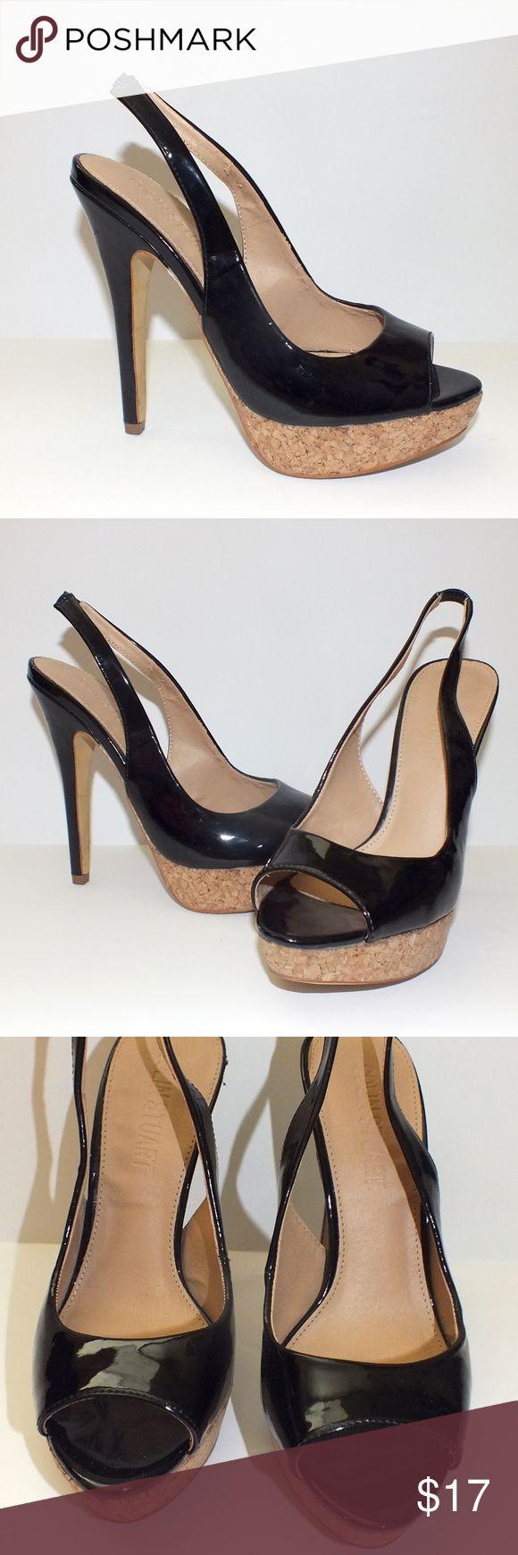 """Colin Stuart Cork Platform Slingback Sandal Size 6, patent black leather and cork platform.  4"""" heel. Colin Stuart Shoes Heels"""