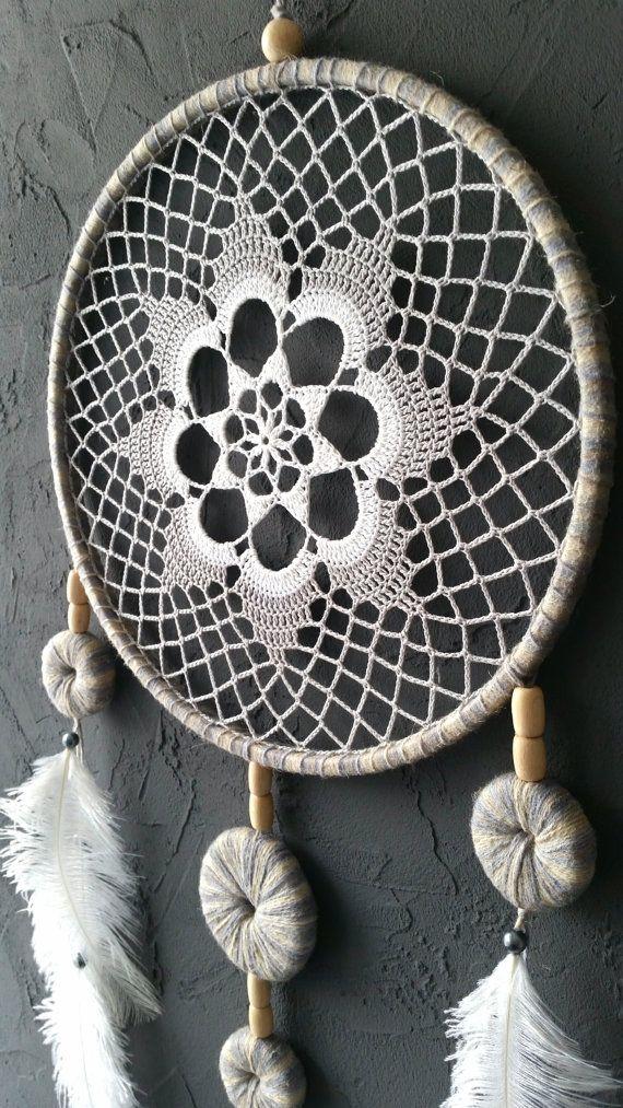 Gray White Beige Blue Dream Catcher Crochet by DreamcatchersUA