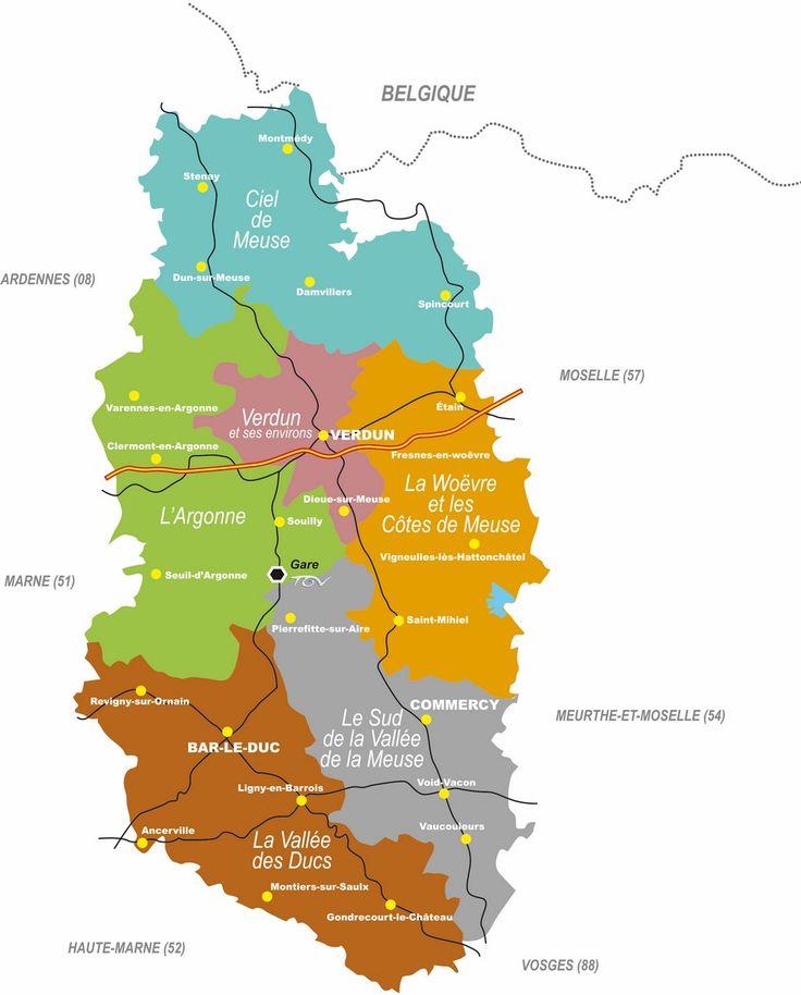 Carte de la Meuse en Lorraine