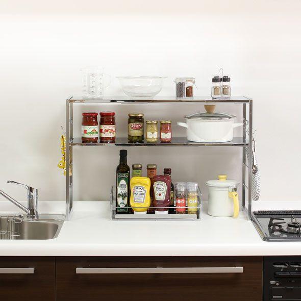 使いやすい位置に、使いやすく、調理家電をひとまとめ。調味料の液ダレ汚れからキッチンを守れるBOX付きでより使いやすく。伸縮幅45〜90cmの設置スペースに合わせて選べます。コンロ奥・シンク周り・キッチンカウンター・食器棚などなど、お好きな場所が収納力アップ。【送料無料】【平日13時まで当日出荷可能】