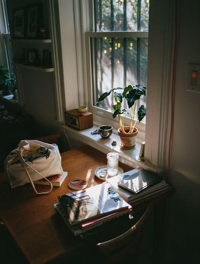 Acelgas, cornisa de la ventana y una radio.