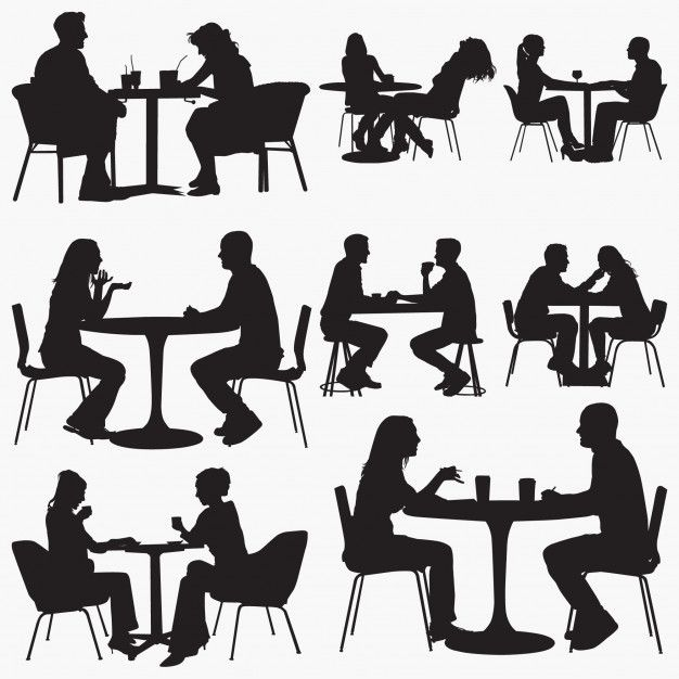 Couple Sitting In Restaurant Silhouettes in 2020 Silhouette people Book silhouette Couple silhouette