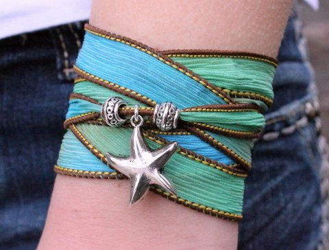 Starfish Silk Ribbon Wrap Bracelet  ~ Love this color for summer! #beach #fashion #jewelry