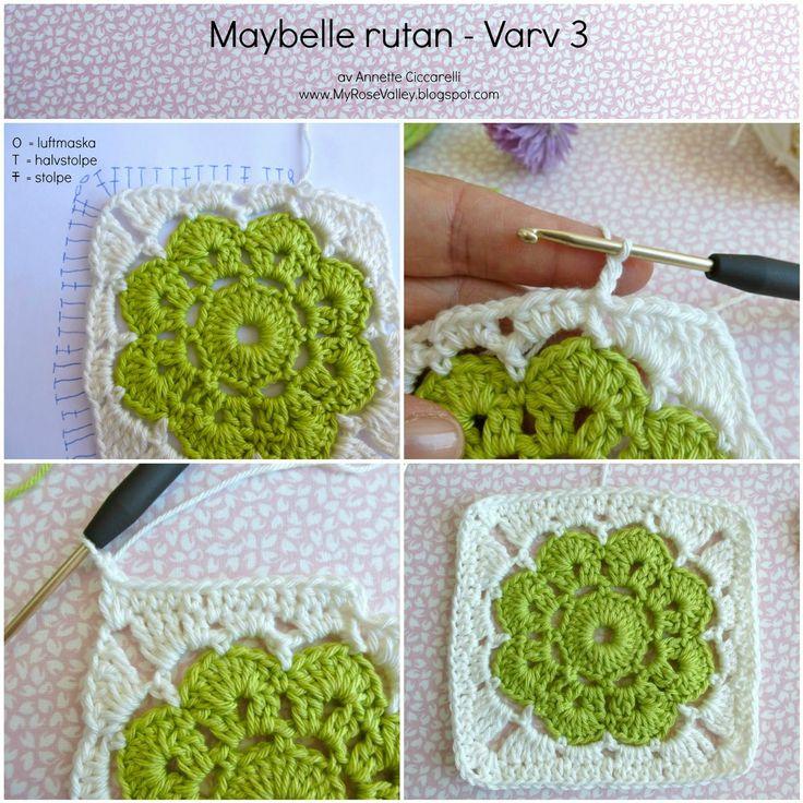 """Idag delar jag med mig av mitt mönster """"Maybelle Squares"""" på svenska. På svenska kallar jag den Maybelle Rutan helt enkelt. En underba..."""