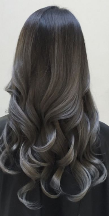 #longhairtips Dark grey granny hair balayage. Aloxxi Hair Color from desertviking.com can give you an edge on doing great color.