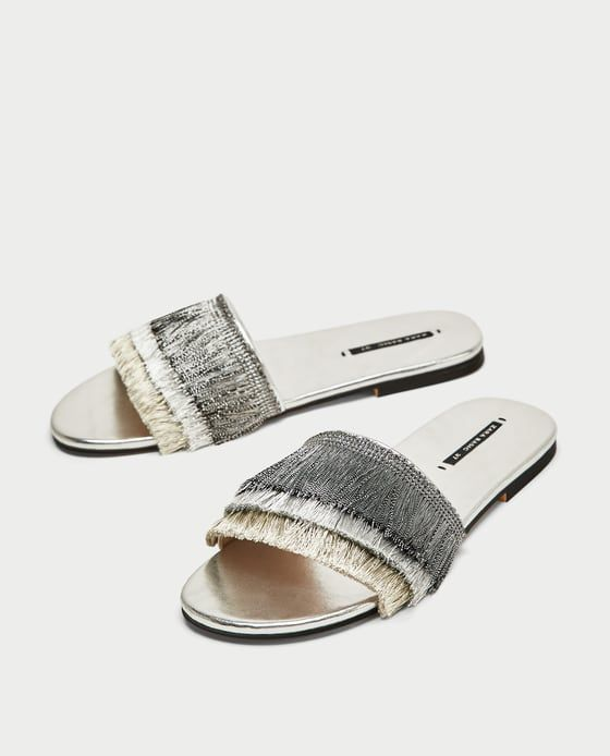 b73fd0f5a SLIDES WITH FRINGE from Zara   The Best of Zara in 2019   Zara shoes ...