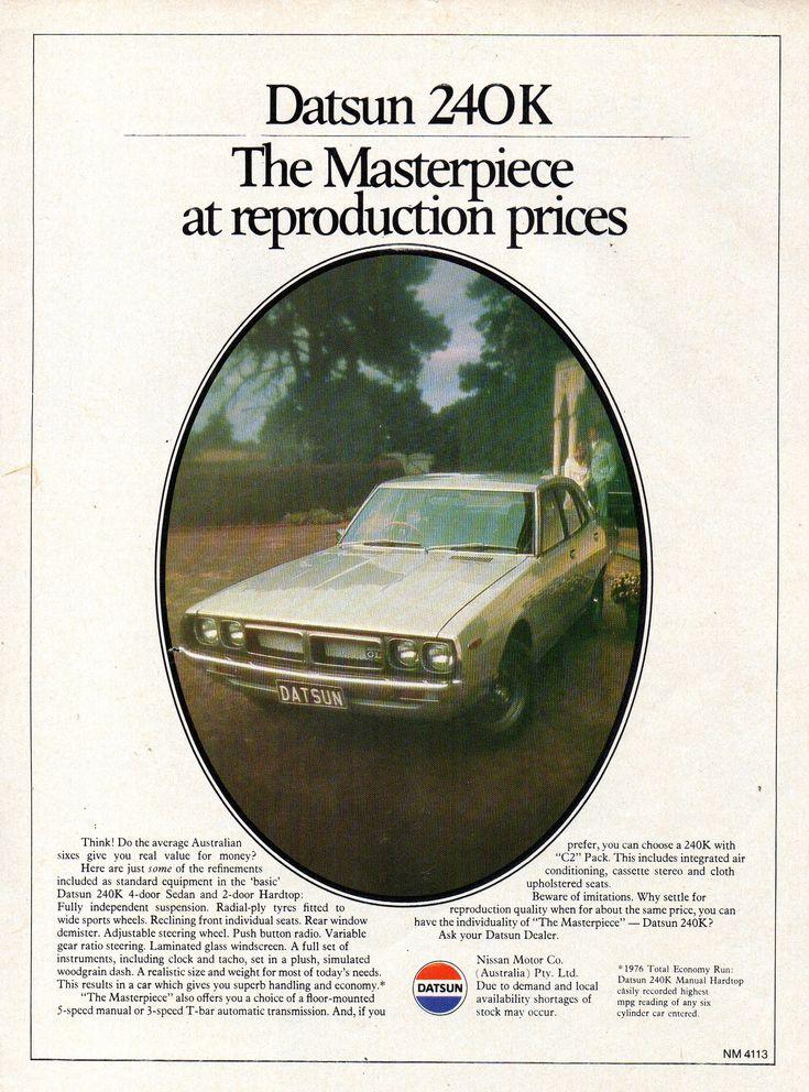 https://flic.kr/p/24NdRZU | 1977 Datsun 240K Sedan Nissan Aussie Original Magazine Advertisement