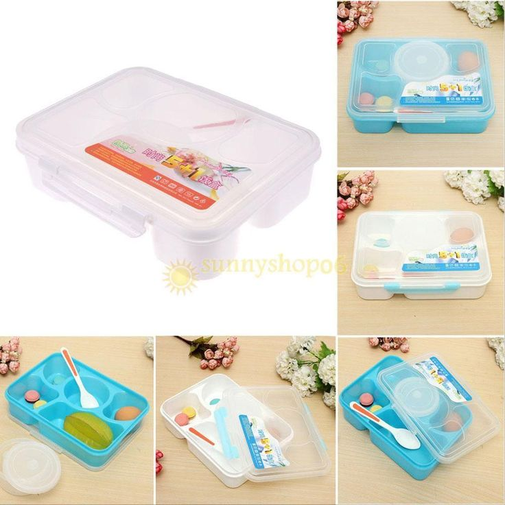 Portable Microwave Oven Bento Lunch Box + Spoon Food Container Storage Lunch Box #Unbranded