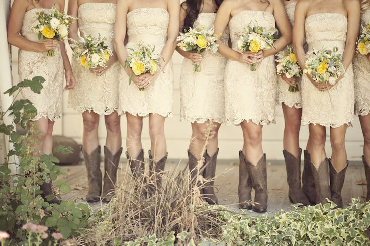 I love the lace, the subtle white colour, and the cowboy boots, this is PERFECT!
