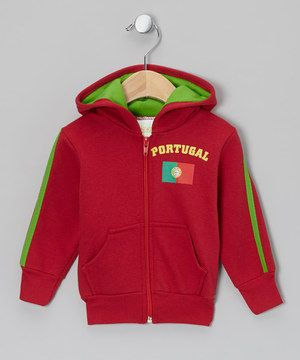 Loving this Wine 'Portugal' Flag Zip-Up Hoodie - Infant, Toddler & Kids on #zulily! #zulilyfinds