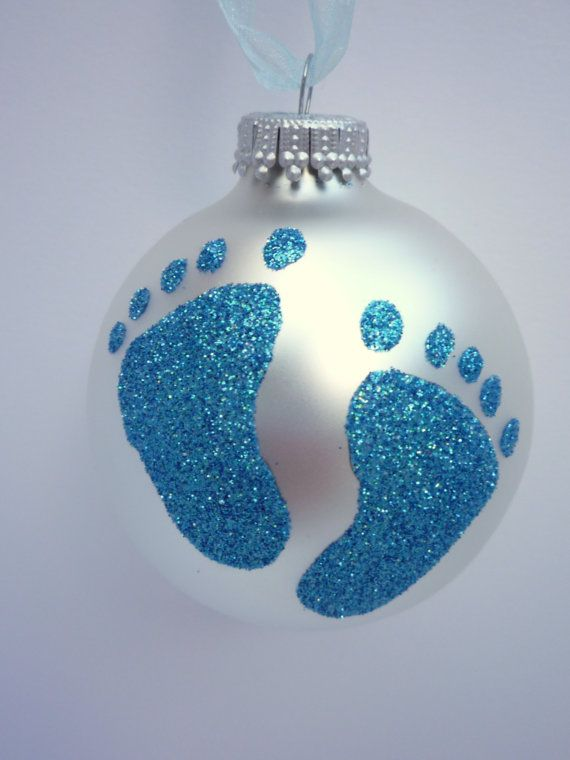 Blue Baby Feet Glitter Ornament - Baby Boy Footprint - Personalized Unique Glass Ornament