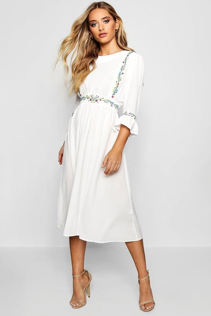 Cici Embroidered Ruffle Sleeve Midi Dress  f3d580e63