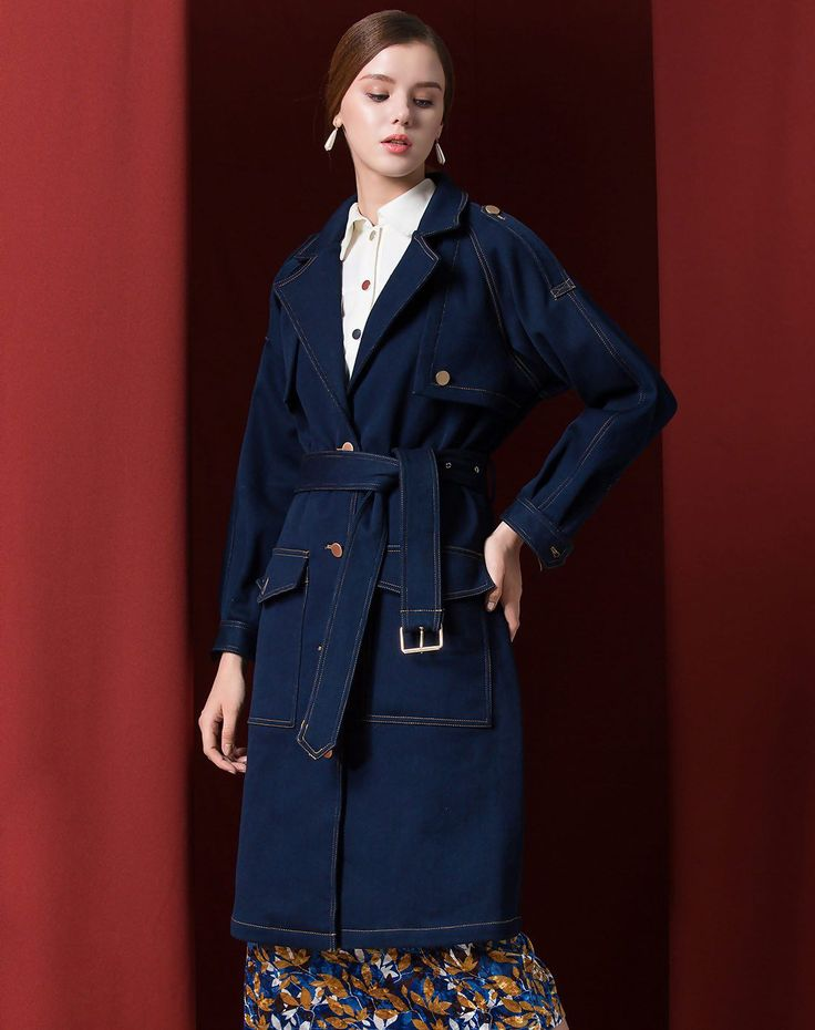 #VIPshop Blue Lapel Single Breasted Long Sleeve Women's Windbreaker ❤️ Get more outfit ideas and style inspiration from fashion designers at VIP.com.
