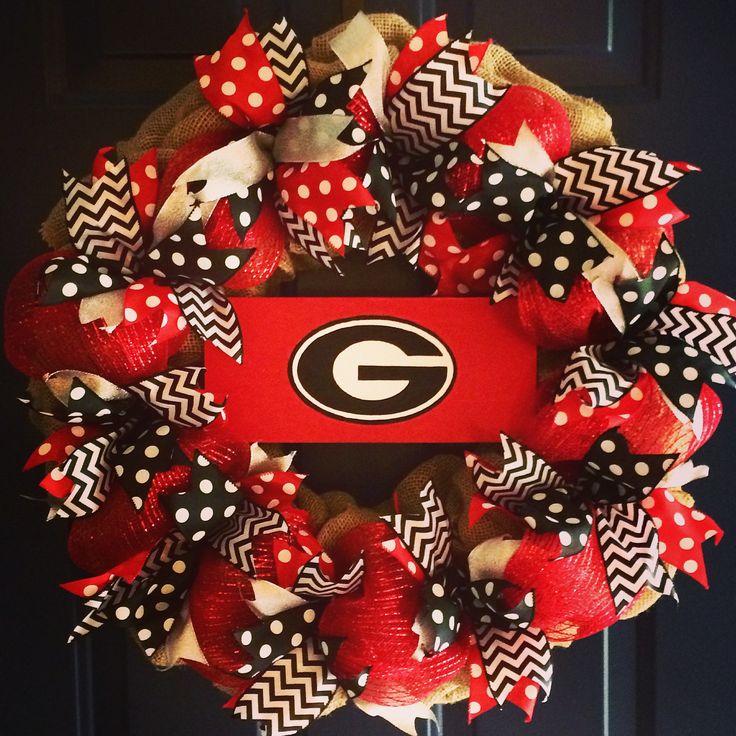 UG burlap wreath, Georgia Bulldogs, Football