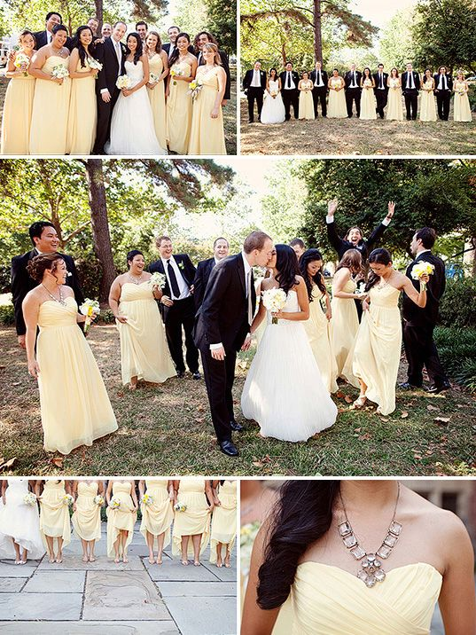 Pale yellow strapless bridesmaid dresses. Photo: Jodi Miller