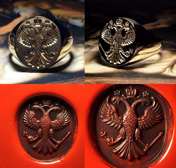 My last creation - Gold Signet Ring, handmade engraving