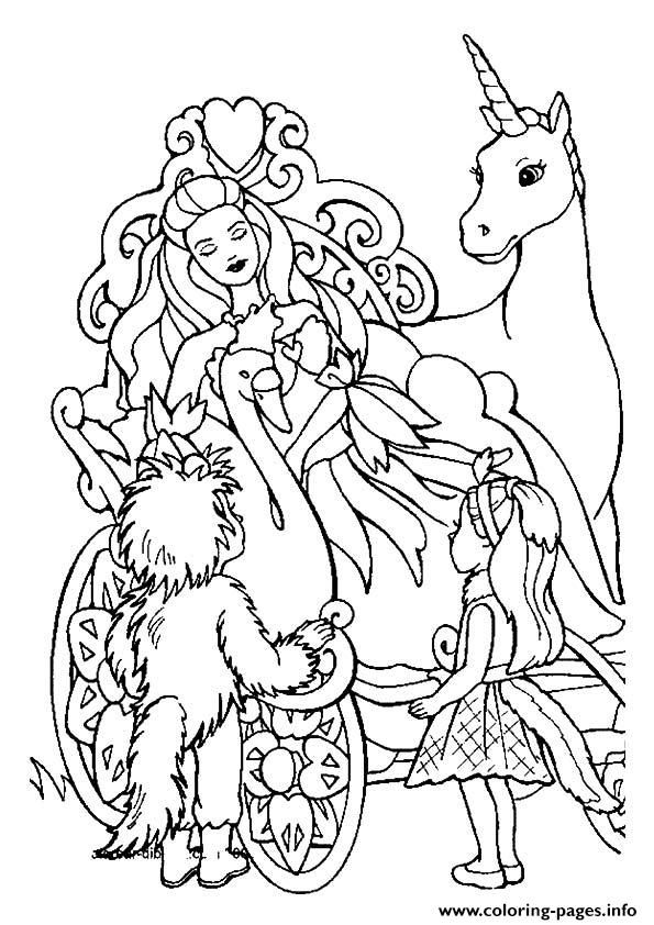 Print The Barbie And The Unicorn Princess Coloring Pages Unicorn Coloring Pages Princess Coloring Cartoon Coloring Pages