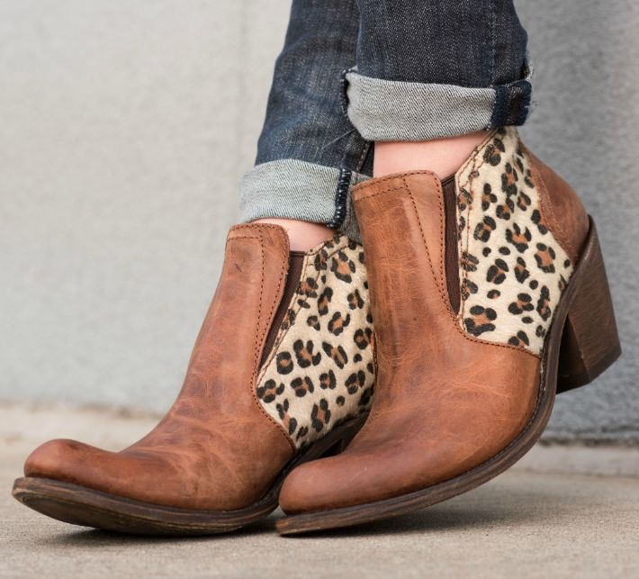 Independent Boot Company - Women's Celeste Bootie - Aged Cognac and Faux  Leopard http:/