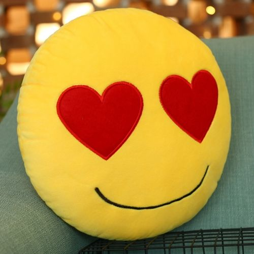 [€1.54] In Love Face Creative Emoji Throw Pillow Back Pillow, Size: About 28cm x 28cm