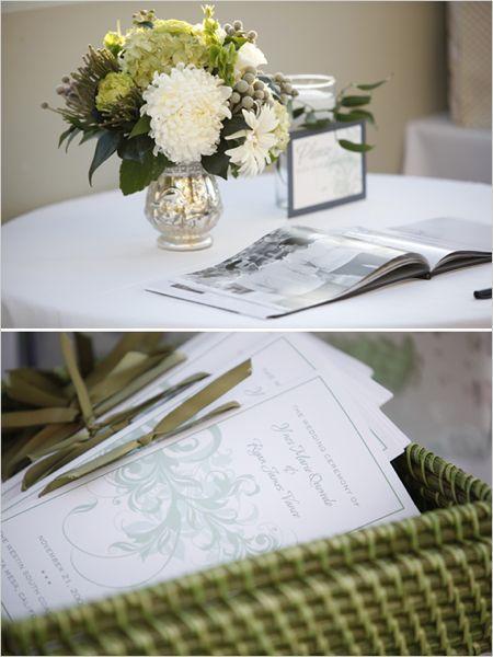 Guest book tableMercury Glasses, White Flower, Guest Books, Green Ribbons, Flower Arrangements, Glasses Vases, Floral Arrangements, Centerpieces, Green Weddings