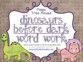 This unit includes over five center activities to help teach important vocabulary from the Magic Tree House chapter book, Dinosaurs Before Dark. Included are:- Making Words (2-9+ letter words)- Word Search (uses most of the vocabulary words)- Parts of Speech Sort (sorting 36 vocabulary words into nouns, verbs, or adjectives)- ABC Order (organizing 36 vocabulary words into alphabetical order)- Syllable Sort (sorting 36 vocabulary words into 1-3 syllables)- Publishing Paper (for centers who…