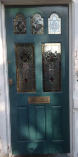 1930s-Large-Hardwood-stained-glass-front-door