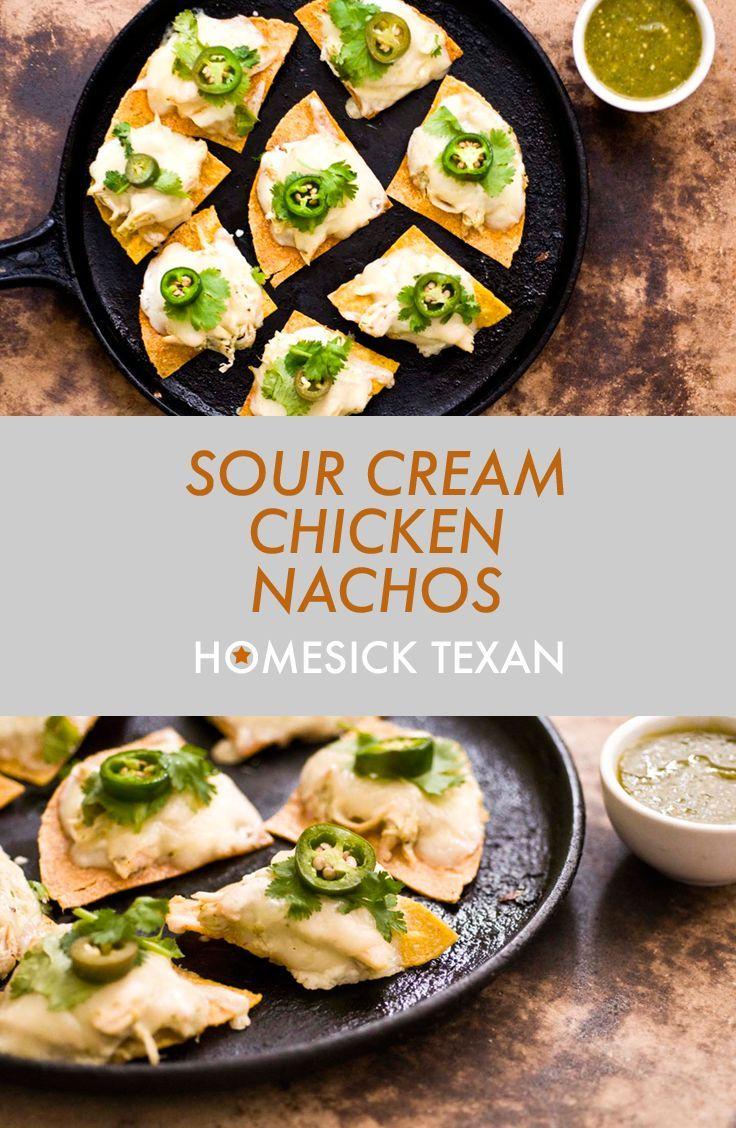 Sour Cream Chicken Nachos With A Poblano Chile Salsa Verde Homesick Texan Sour Cream Chicken