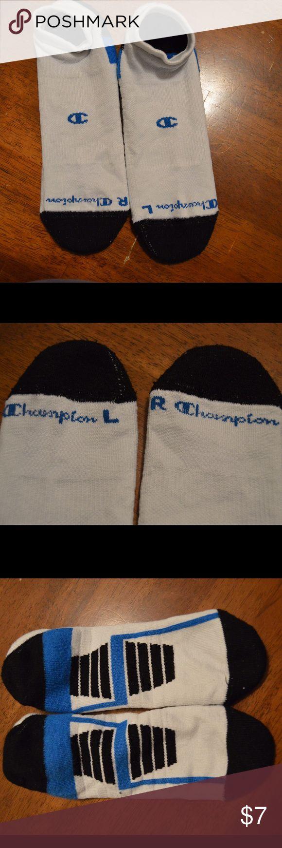 Champion men's socks Like new men's champion socks. 1 pair. White, black, and blue. Hardly worn Champion Accessories Hosiery & Socks