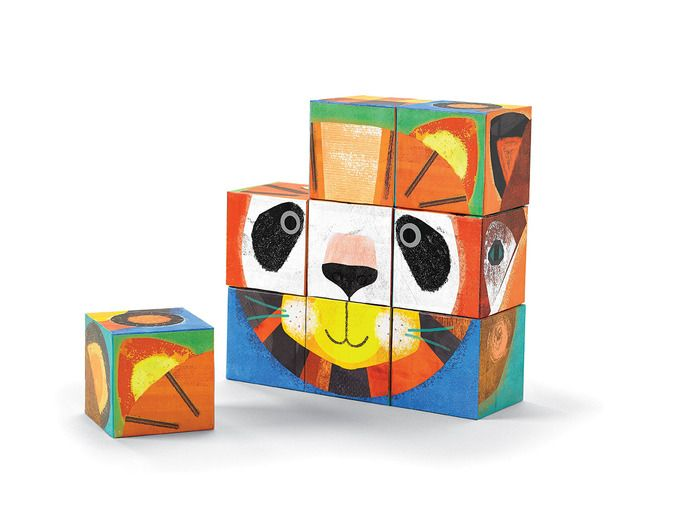 Creative, imaginative play! Beautifully-illustrated block set. Its a puzzle! Its a creativity toy! Hours of creative play. 6 basic faces 10,077,696 different possibilities. Includes 9 heavy-duty cardboard blocks. For ages 3+ Blocks are 2.4 square. Box is 10.25W x 8H x 2.75D. #makeaface #animals #blocks #imagination #crocodilecreek