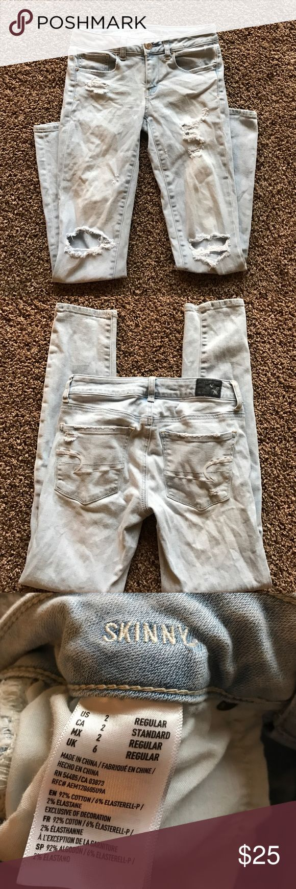 American Eagle light blue ripped jeans AE light blue ripped jeans. In great condition! Offers are welcome 💙 American Eagle Outfitters Jeans Skinny