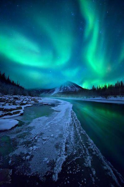 Aurora show, northern Ogilvie Mountains, Yukon Territory, Canada