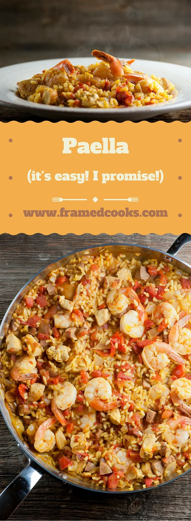 This recipe for easy paella is a show-stopping mixture of seasoned rice with shrimp, sausage and chicken. Simple and delicious!